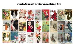 Vintage Christmas Junk Journal or Scrapbook Add Ons Kit PDF Product Image 4