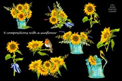 Sunflower Watercolor Clipart. Summer boho flower, bird Product Image 4