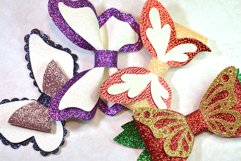 4 Hair bow template SVG, Butterfly faux leather bow template Product Image 7