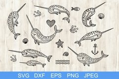 Set of handdrawn cute funny narwhals. Cartoon characters SVG Product Image 1