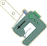 ITH Sewing Machine Vinyl Key Fob or Bag Tag - Snap Tab Machine Embroidery Product Image 2