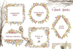 Cute owls clipart. Watercolor collection with floral forest Product Image 8