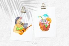 Watercolor Hawaii Clipart, Summer Island Beach, Aloha, PNG Product Image 4