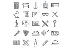 Architect material tool icons set, outline style Product Image 1