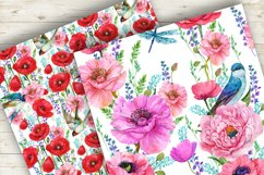 Poppies Flowers, Seamless patterns.Watercolor Flower Product Image 3