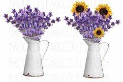 Vintage White Pitcher, Sunflowers Lavender, Bundle, Clip Art Product Image 1