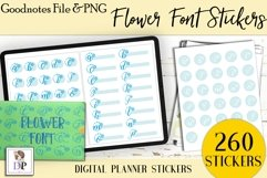 Flower Font Digital Printable Labels Stickers Goodnotes Product Image 1