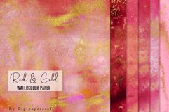 Burgundy watercolor paper, Gold foil watercolor, Red & Gold Product Image 2