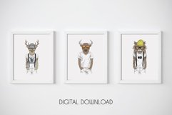 Hipster Wall Art, Funny Animal Prints, Hipster Animals Product Image 1