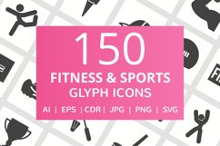 150 Fitness & Sports Glyph Icons Product Image 1