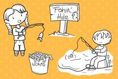 Kids Fishing Digital Stamps Product Image 3