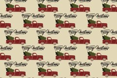 Red christmas vintage retro pickup truck. Seamless pattern. Product Image 1