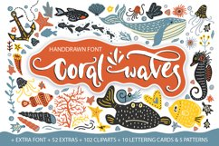 Coral waves. Font and clip arts. Product Image 1