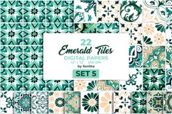 Emerald Azulejo Tiles Digital Papers Set 5 Product Image 1