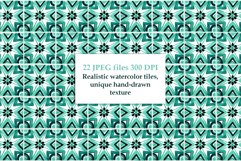 Emerald Azulejo Tiles Digital Papers Set 5 Product Image 3