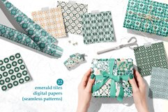 Emerald Azulejo Tiles Digital Papers Set 5 Product Image 5