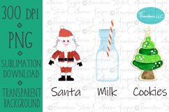 Santa, Milk, Cookies, PNG, Sublimation Design, Printable Product Image 1