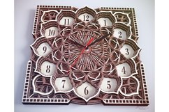 C09 - Wall Clock for Laser cut, Mandala Clock DXF pattern Product Image 5