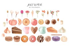 Watercolor Autumn Clipart Collection. Cozy patterns Product Image 2