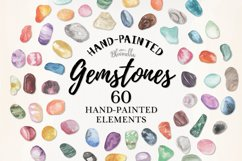 60 Gemstones Watercolor Elements Painted PNG Stones Crystals Product Image 1