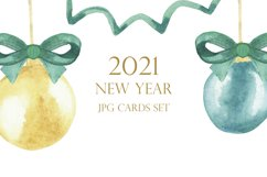 Watercolor new year card set, christmas tree ball, toy decor Product Image 2