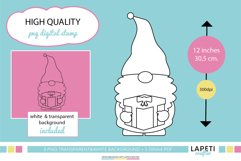 Christmas gnome digital stamp, Christmas coloring sheet Product Image 2