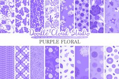 Purple Floral digital paper, Lilac Floral pattern Flowers Dhalia Leaves Damask Calico Lavender, Instant Download, Personal & Commercial Use Product Image 1