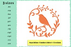 Silhouette Framed Bird Machine Embroidery Design 3 sizes Product Image 1