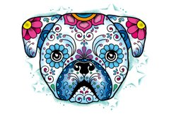 Puppy Calavera Tattoo Style Vector Product Image 3