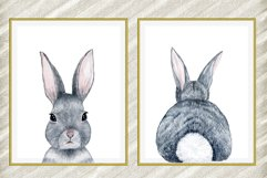Cute Bunny digital print,Rabbit Tail Print,Watercolor Bunny Product Image 1