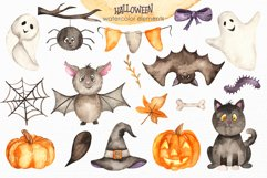 Halloween Watercolor. Clipart, cards, patterns, frames Product Image 5
