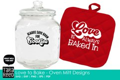 Love to Bake - Oven Mitt Designs - Kitchen SVG & Cut Files Product Image 2