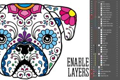Puppy Calavera Tattoo Style Vector Product Image 6