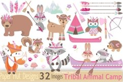 Girls Tribal Animals Clipart Product Image 1