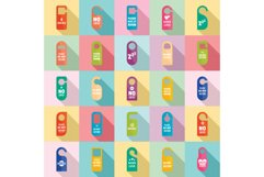 Hanger tags door card hotel icons set, flat style Product Image 1