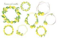 Watercolor Lemon Clipart, Lemon Frame, Lemon Wreath, Summer Product Image 2