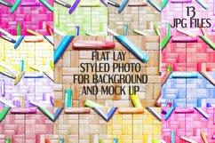 Crayons on rattan background | Flat photo mock up bundle Product Image 1
