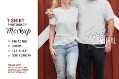 Couple T-Shirt Sublimation Mockup, Smart Object PSD File Product Image 1