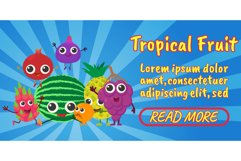 Tropical fruit concept banner, comics isometric style Product Image 1