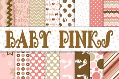 Baby Girl Digital Paper in Pinks and Browns Product Image 1