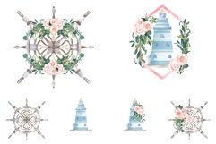 Nautical Floral Watercolor Clipart, Transparent PNG, Summer Product Image 5