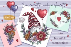 Romantic Gnomes at Valentine's Day. Hand drawing clipart. Product Image 6