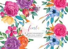 Watercolor Fiesta Floral Clipart  Product Image 2