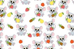 pattern design with cute mouse hold fruit ornament Product Image 1