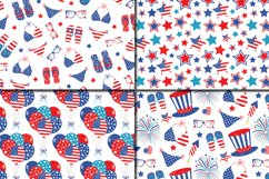 4th of July Digital Paper / USA Independence Day backgrounds / American patriotic Scrapbook paper Product Image 2