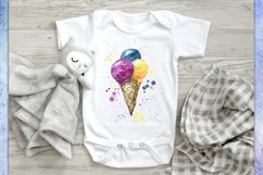 Ice cream watercolor sublimation designs downloads PNG JPG Product Image 2