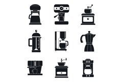 Coffee maker pot espresso icons set, simple style Product Image 1