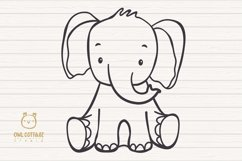 Little Elephant with Flowers Crown Svg , Baby Elephant Cut F Product Image 3