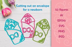 Cutting the envelope for the newborn. SVG Product Image 1