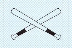 Baseball Crossed Bats SVG cut file. Product Image 2